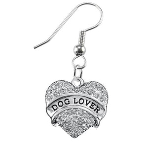 Dog Lover Crystal Heart Hypoallergenic Earrings Nickel and Lead Free!