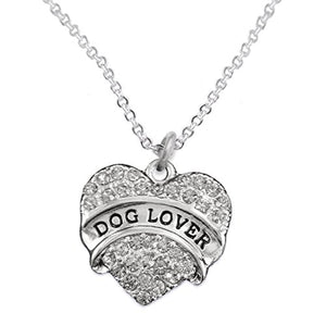 Dog Lover Crystal Heart Hypoallergenic Safe Necklace Nickel & Lead Free