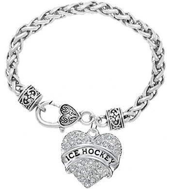 Ice Hockey Crystal Heart Bracelet- Hypoallergenic Nickel, and Lead Free!