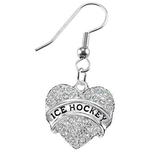 Ice Hockey Crystal Heart Earring- Hypoallergenic Nickel, and Lead Free!