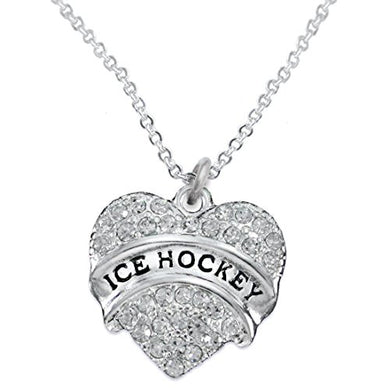 Ice Hockey Crystal Heart Necklace- Hypoallergenic Nickel, and Lead Free!