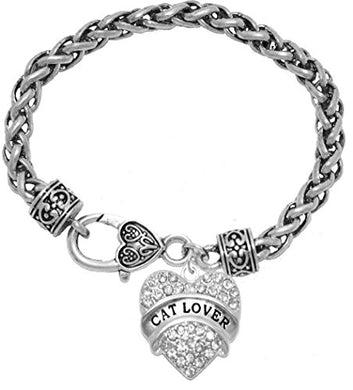 Cat Lover Crystal Heart Bracelet