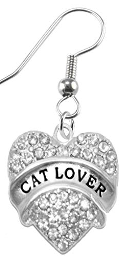 Cat Lover Crystal Heart Earrings,
