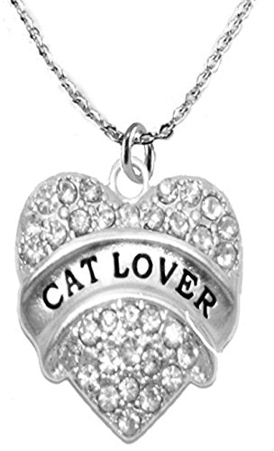cat lover adjustable crystal heart necklace