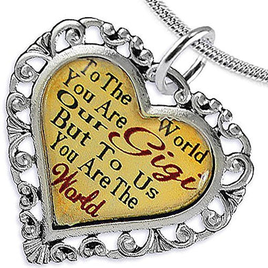 Gigi Heart Charm Necklace ©2016 Hypoallergenic, Adjustable, Safe, Nickel, Lead & Cadmium Free!