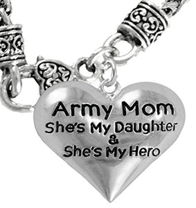 "Army Enlisted ""Daughter"", My Daughter Is My Hero Necklace, Safe - Nickel & Lead Free."