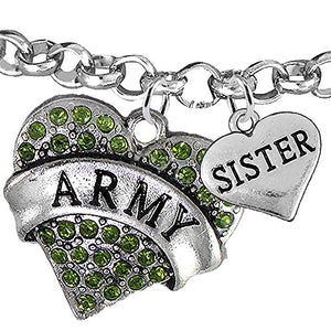 "Army ""Sister"" Heart Bracelet, Adjustable, Will NOT Irritate Anyone with Sensitive Skin. Safe"