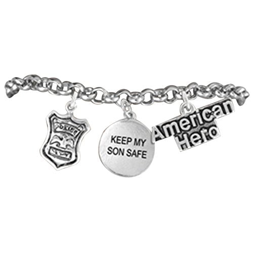 "policeman ""keep my son safe"" policemans mother hypoallergenic adjustable bracelet nickel & lead free"