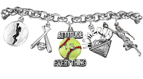 "softball bracelet  ©2012 hypoallergenic safe nickel & lead free ""fits anyone"" from child to adult"