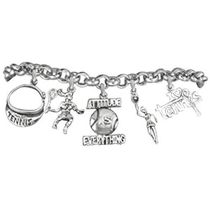"Tennis ""Attitude Is Everything"", Great Gift, Hypoallergenic Bracelet, Safe - Nickel & Lead Free!"