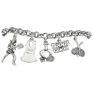 "Tennis ""Tennis Chick"", Great Gift, Hypoallergenic Bracelet, Safe - Nickel & Lead Free!"