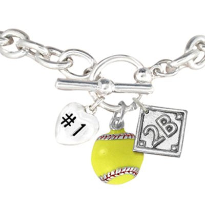 Choose the Position You Play, Softball Charm Bracelet Hypoallergenic (Right Field)