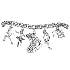 "Ice Skates, I Love Ice Skating"" Hypoallergenic Adjustable Bracelet"
