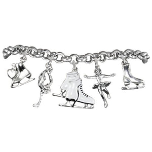 Ice Skating Charm Bracelet, Hypoallergenic, Adjustable, Nickel and Lead Free! Fits Everyone.