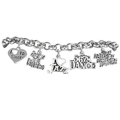 Born to Dance 5 Charm Bracelet, Safe - Hypoallergenic, Adjustable, Nickel, Lead & Cadmium Free