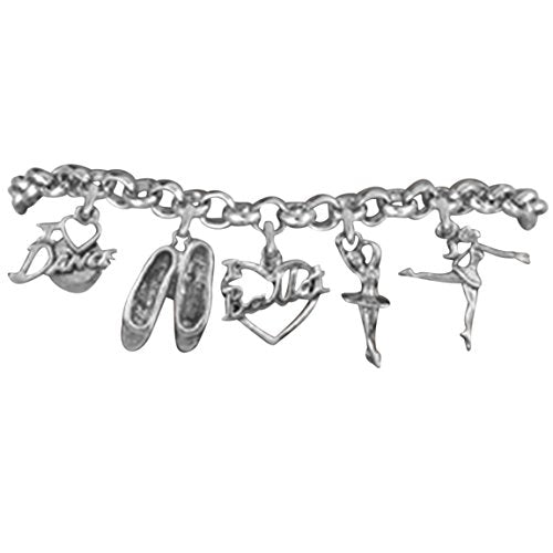i love ballet 5 charm adjustable bracelet  ©2012 hypoallergenic. safe -nickel, lead and cadmium free!