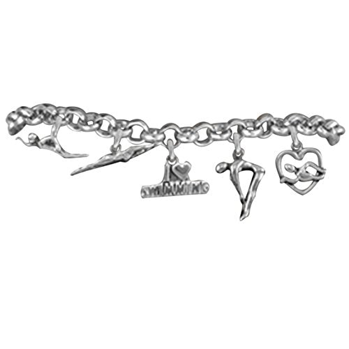 swimming 5 charm bracelet, adjustable hypoallergenic, safe - nickel, lead & cadmium free!