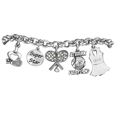 Tennis 5 Charm Bracelet, Great Gift, Hypoallergenic, Safe - Nickel & Lead Free!