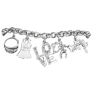 "Tennis 5 Charm"" LOVE"" Bracelet, Great Gift, Hypoallergenic, Safe - Nickel & Lead Free!"