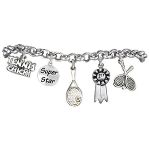 "Tennis ""Super Star"", 5 Charm Bracelet, Great Gift, Safe - Nickel & Lead Free!"
