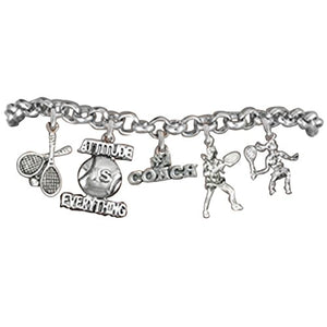 "Tennis 5 Charm ""Attitude Is Everything"" Bracelet, Great Gift, Safe - Nickel & Lead Free!"