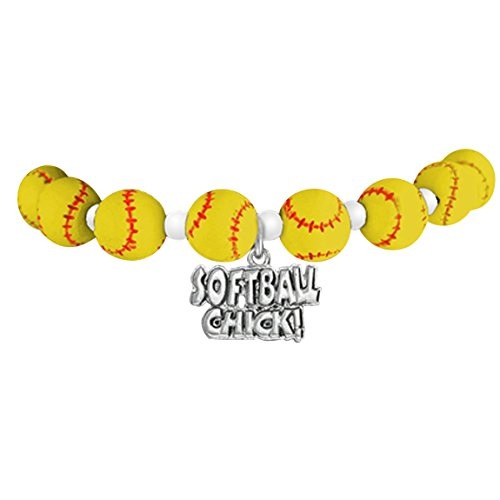 "softball ""softball chick""  ©2016 hypoallergenic stretch bracelet, fits everyone. nickel & lead free"