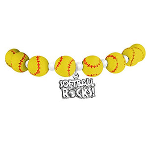 "Softball ""Softball Rocks"" Hypoallergenic Stretch Bracelet, Fits Everyone. Nickel & Lead Free"