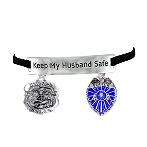 "policeman ""keep my husband safe"" policeman's wife adjustable bracelet - nickel & lead free"