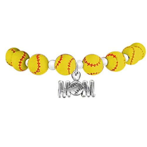 "softball ""mom"" hypoallergenic stretch bracelet, fits everyone. nickel & lead free"