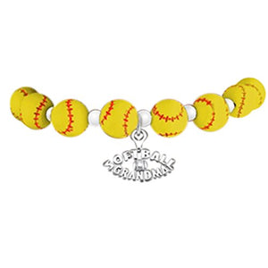 "Softball ""Softball Grandma"" ©2012 Hypoallergenic Stretch Bracelet, Fits Everyone. Nickel & Lead Free"