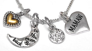 "Mamaw ""I Love You to The Moon & Back"", Adjustable Necklace Set, Will NOT Irritate Sensitive Skin"