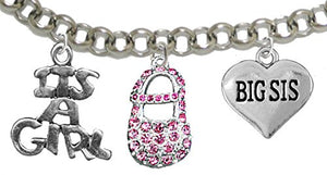 "Big Sis, ""It's A Girl"", Adjustable Bracelet, Hypoallergenic, Safe - Nickel & Lead Free"