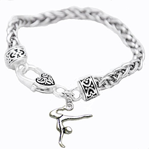 Gymnast Standing on Hands Heart Bracelet Safe - Nickel, Lead & Cadmium Free!