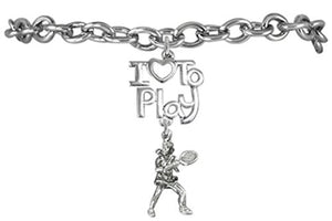 I Love to Play Tennis Hypoallergenic Bracelet, Safe - Nickel Free!