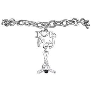 "Ice Hockey ""I Love to Play Hockey"" Charm Stretch Bracelet Adjustable - Nickel & Lead Free."
