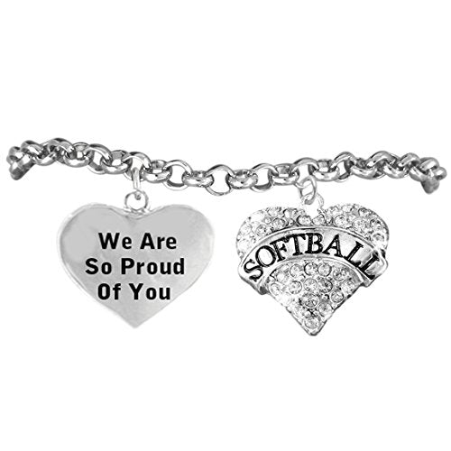 "girls crystal softball heart, we are so proud of you"" hypoallergenic adjustable bracelet"