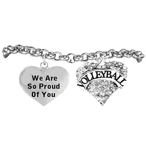 """volleyball """"we are so proud of you"""" adjustable bracelet, safe - nickel & lead free!"""