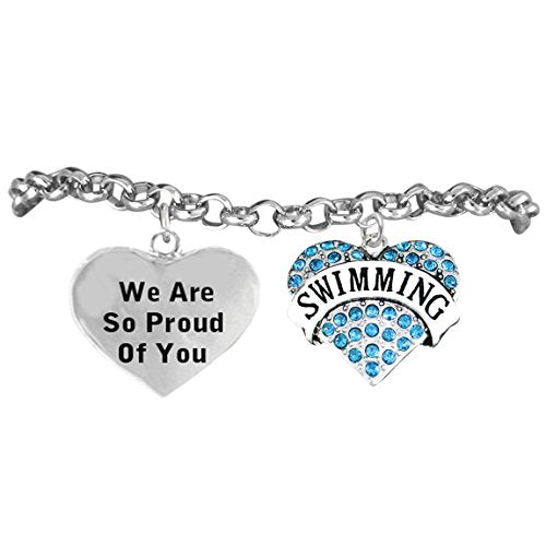 "swimming ""we are so proud of you"" bracelet, adjustable hypoallergenic, safe - nickel & lead free"