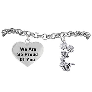 "Cheerleader Crystal Bracelet, ""We are So Proud of You"" Safe - Hypoallergenic, Nickel Free"