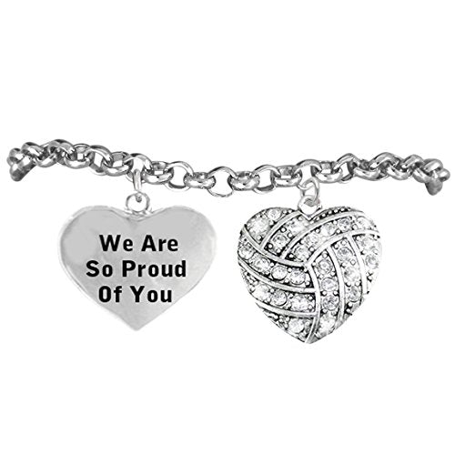"""volleyball """"we are so proud of you"""" bracelet, adjustable, safe - nickel & lead free!"""