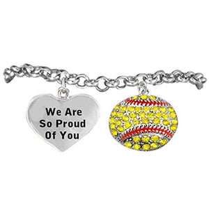 "Girls Softball, We Are So Proud of You"" Hypoallergenic Adjustable Bracelet"