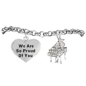 "The Perfect Gift ""Crystal Piano"", ""We Are So Proud of You"" Bracelet, Safe - Nickel & Lead Free"