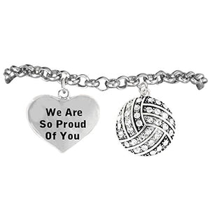 "Volleyball ""We Are So Proud of You"" Bracelet, Adjustable, Safe - Nickel & Lead Free!"