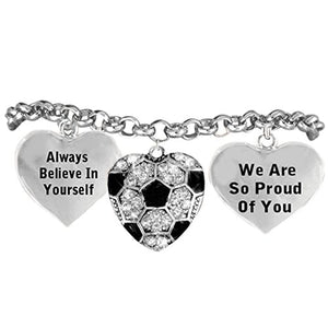 "Soccer ""We Are So Proud of You"" Adjustable Bracelet, Safe - Hypoallergenic, Nickel & Lead Free!"