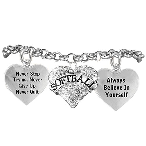 """softball, never stop trying, never give up"""" hypoallergenic adjustable bracelet"""