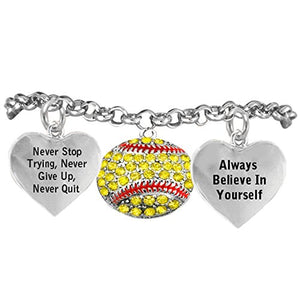 "Softball, Never Stop Trying, Never Give Up"" Hypoallergenic Adjustable Bracelet"