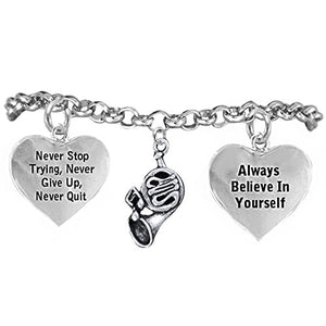 "The Perfect Gift ""French Horn"" Never Give Up, Never Quit"" Hypoallergenic Safe - Nickel & Lead Free"
