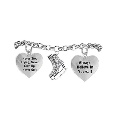 Never Stop Trying, Never Give Up with Ice Skates Charm on Adjustable Bracelet