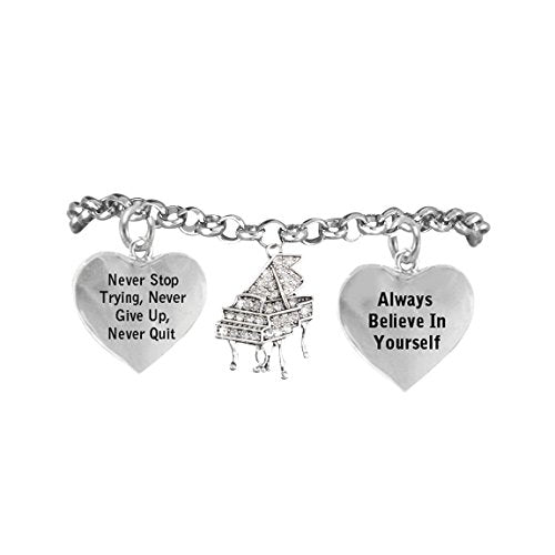 "the perfect gift crystal piano ""never give up, never quit"" bracelet, safe - nickel & lead free"