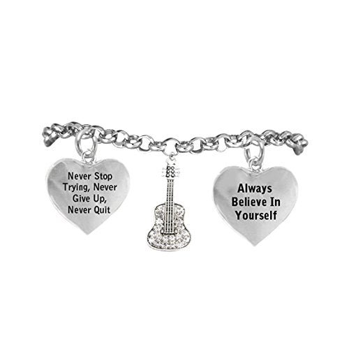 """the perfect gift crystal guitar """"never give up, never quit"""" hypoallergenic adjustable"""